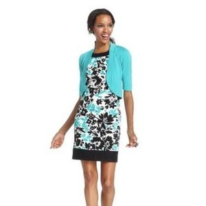 Jessica Howard Teal Floral Pattern Sheath Dress